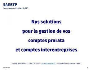 SAEBTP - Gestion de comptes prorata et de comptes interentreprises